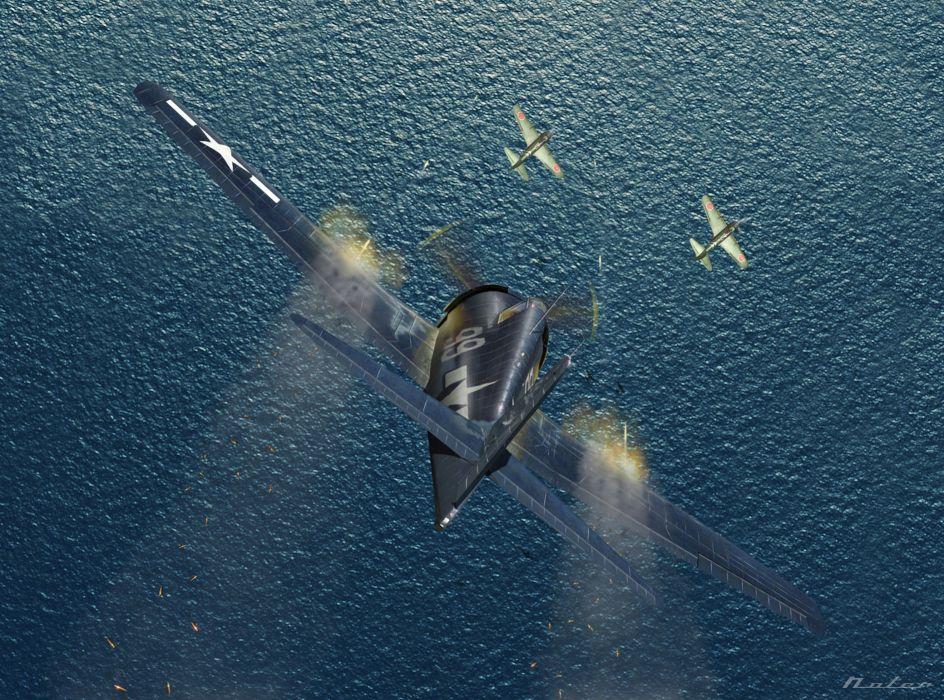art planes American Japanese WW2 drawing battle military wallpaper