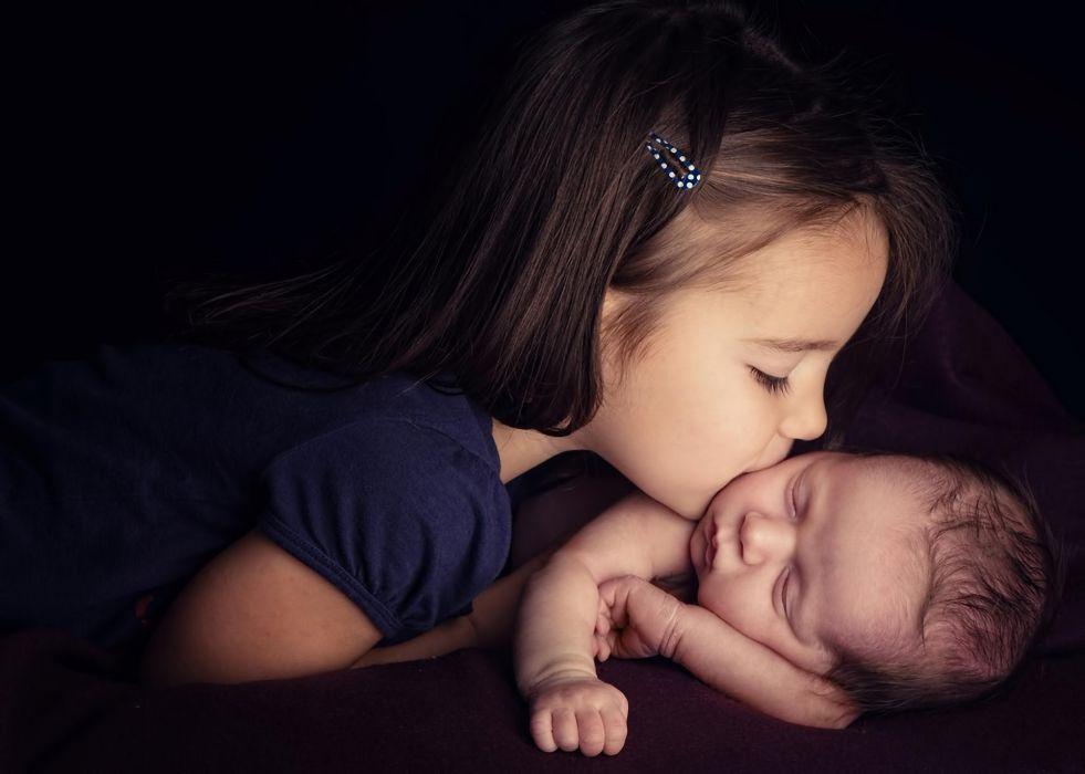 children girl child love affection kiss mood wallpaper