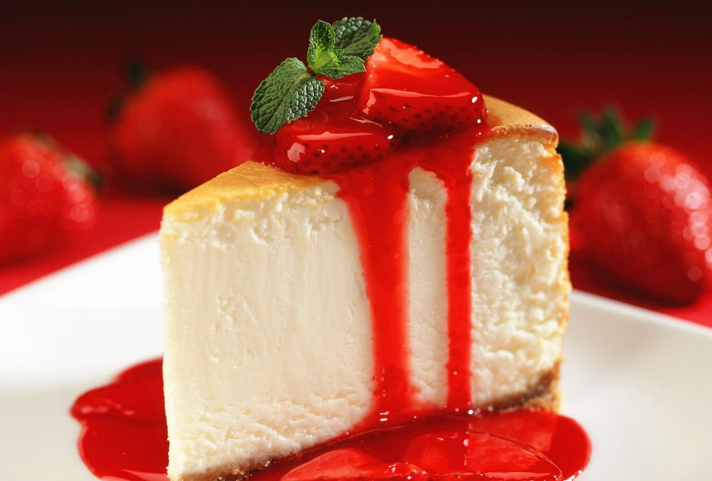 Dessert Pie Strawberry Sweet Close Up Blurred Background