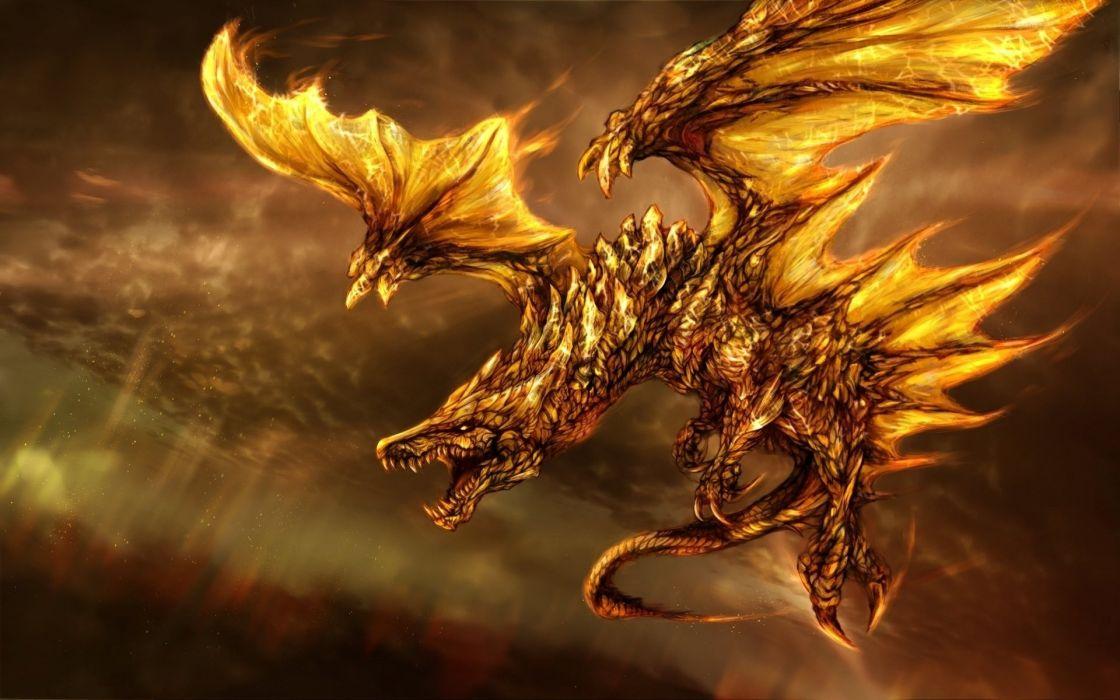 fire wings art dragon fantasy wallpaper