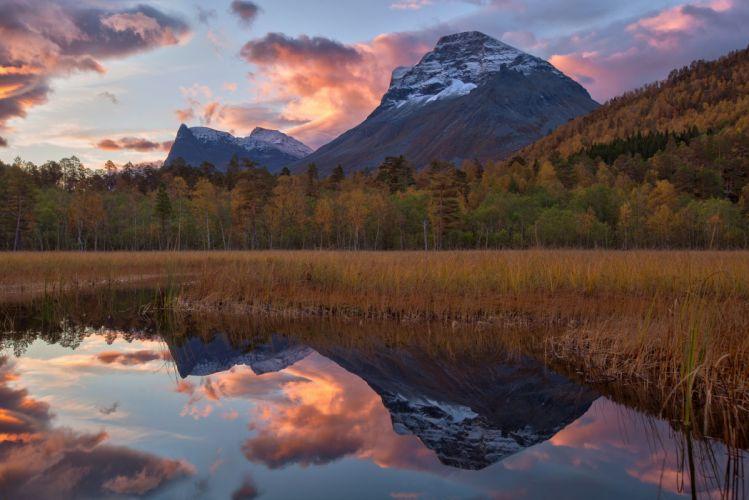 forest autumn lake mountain mountains sky wallpaper