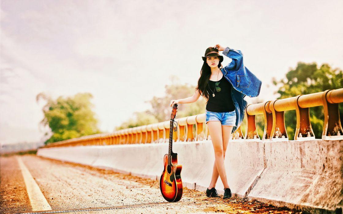 girl guitar music mood     g wallpaper
