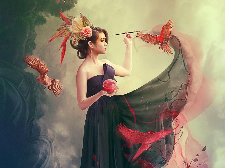 girl paint brush birds photomanipulation bokeh wallpaper