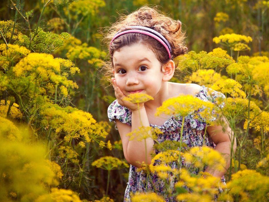 girl surprise meadow mood wallpaper