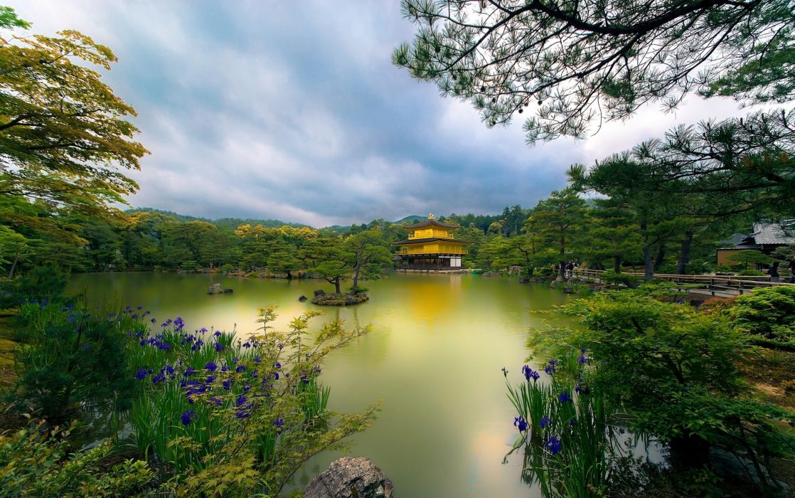 Golden Pavilion Kyoto Japan lake trees flowers park church wallpaper
