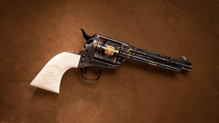 gun revolver brown wallpaper