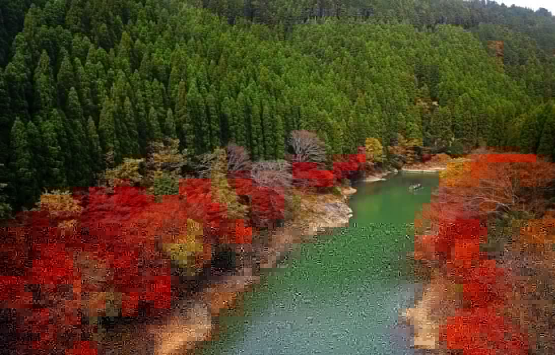 Japan river forest trees autumn wallpaper