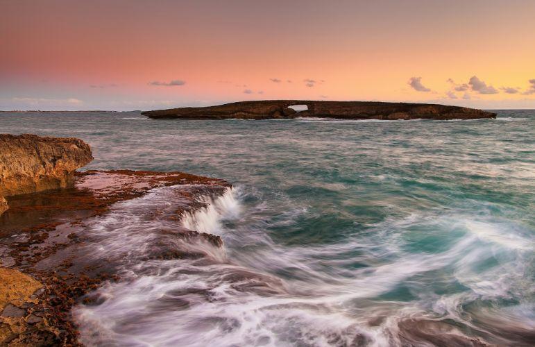 landscape island ocean rocks surf Oahu Hawaii USA wallpaper