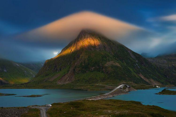 landscape mountain cloud river bridge road Lofoten Islands Norway wallpaper