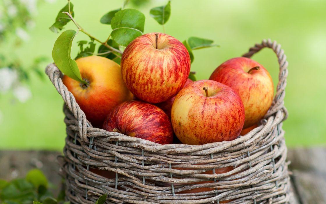 leaves apples basket fall fruit wallpaper