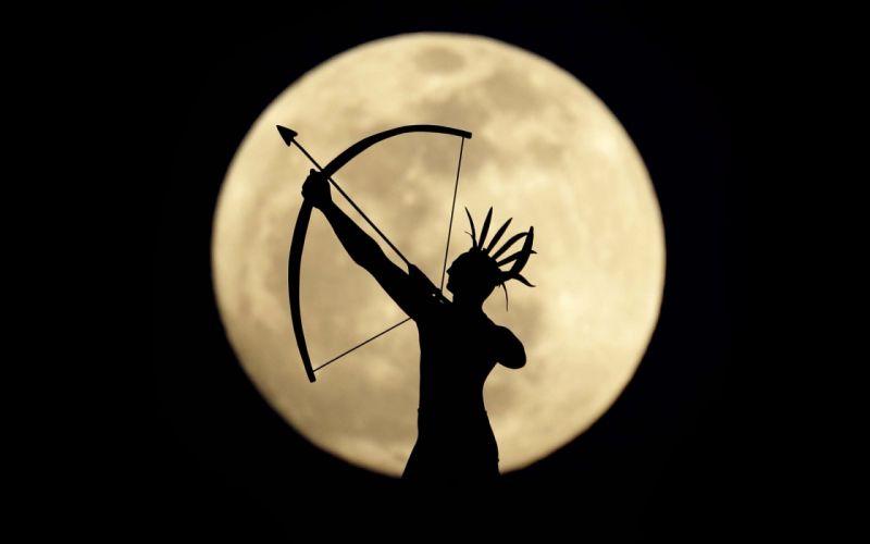 moon background an Indian archer silhouette warrior wallpaper