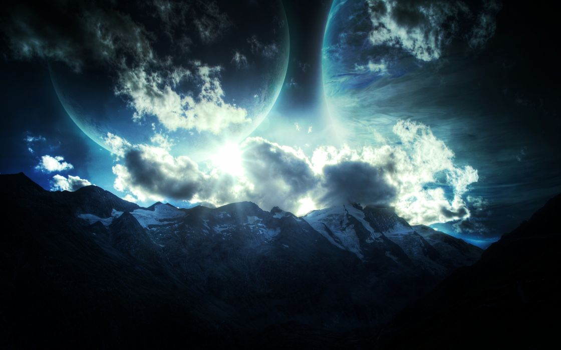 mountains planets stars relief wallpaper