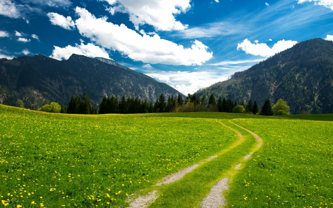 mountains landscape trees clouds sky pasture the bavarian alps    g wallpaper