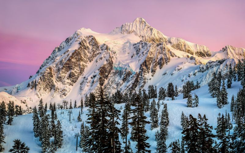 mountains snow trees conifers sunset wallpaper
