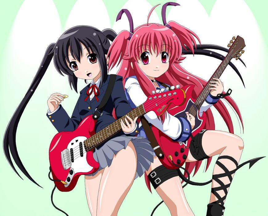 angel beats! girls black hair chain crossover fai guitar instrument k-on! long hair nakano azusa pink eyes pink hair red eyes ribbons seifuku skirt tail twintails wallpaper