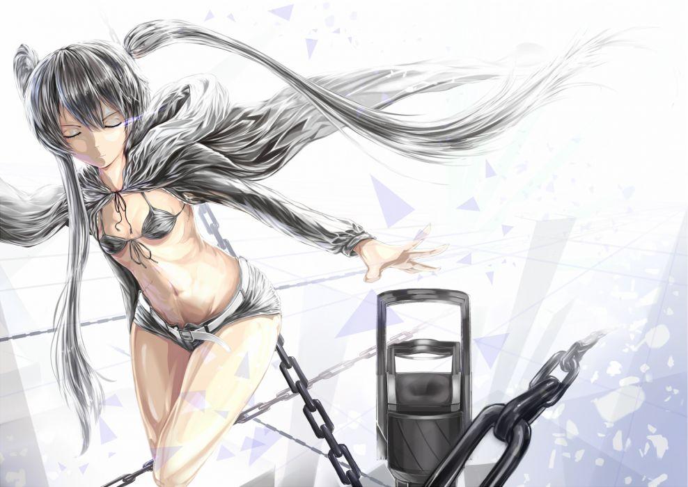 black rock shooter bikini top black hair chain hatsune miku shorts suikaxd twintails vocaloid white wallpaper