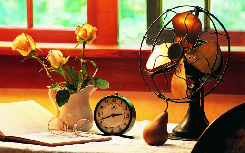blades fan desk window work clock alarm background pear glasses flowers pitcher roses book wallpaper