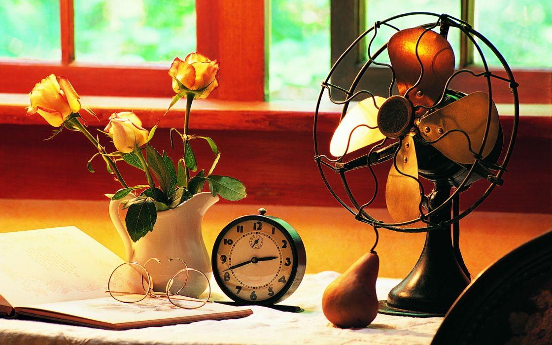 blades fan desk window work clock alarm background pear glasses flowers pitcher roses book wallpaper
