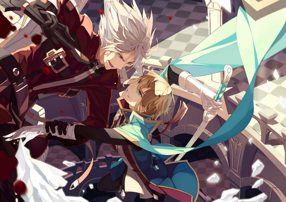blazblue blonde hair blood blue eyes gloves gray hair jin kisaragi ragna the bloodedge red eyes sherry sword uniform weapon wallpaper