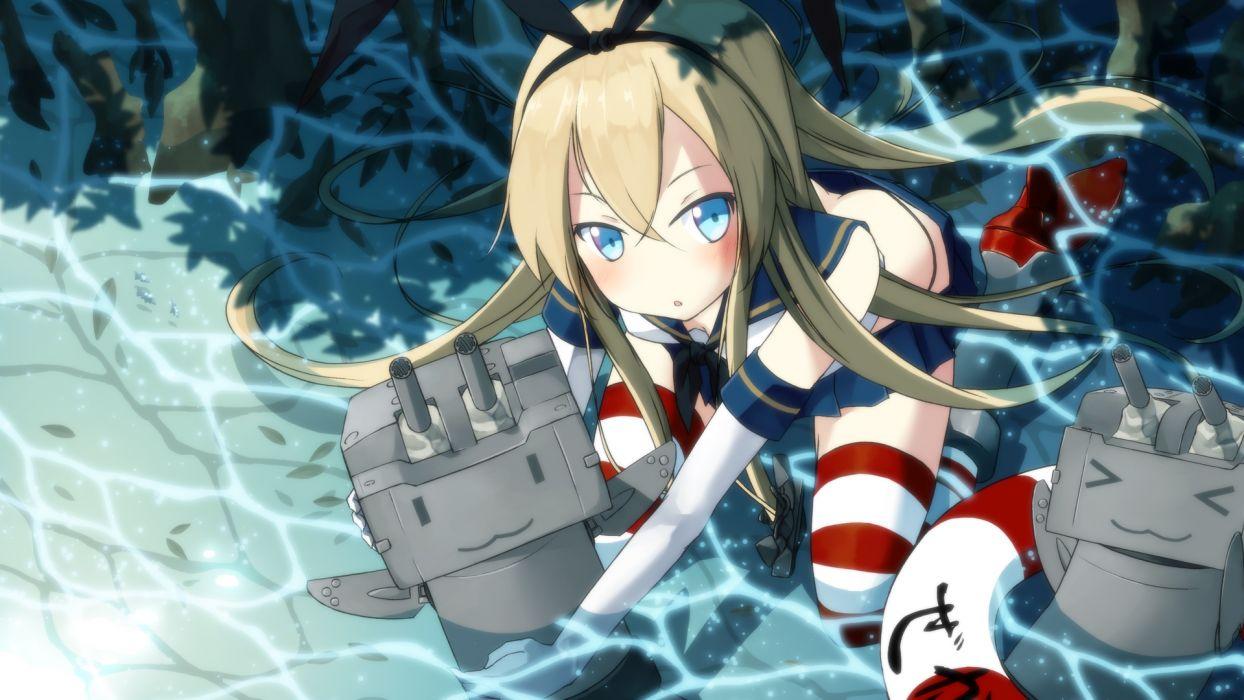 blonde hair blue eyes blush cat smile long hair o daizen panties shimakaze (kancolle) thighhighs underwear water wallpaper