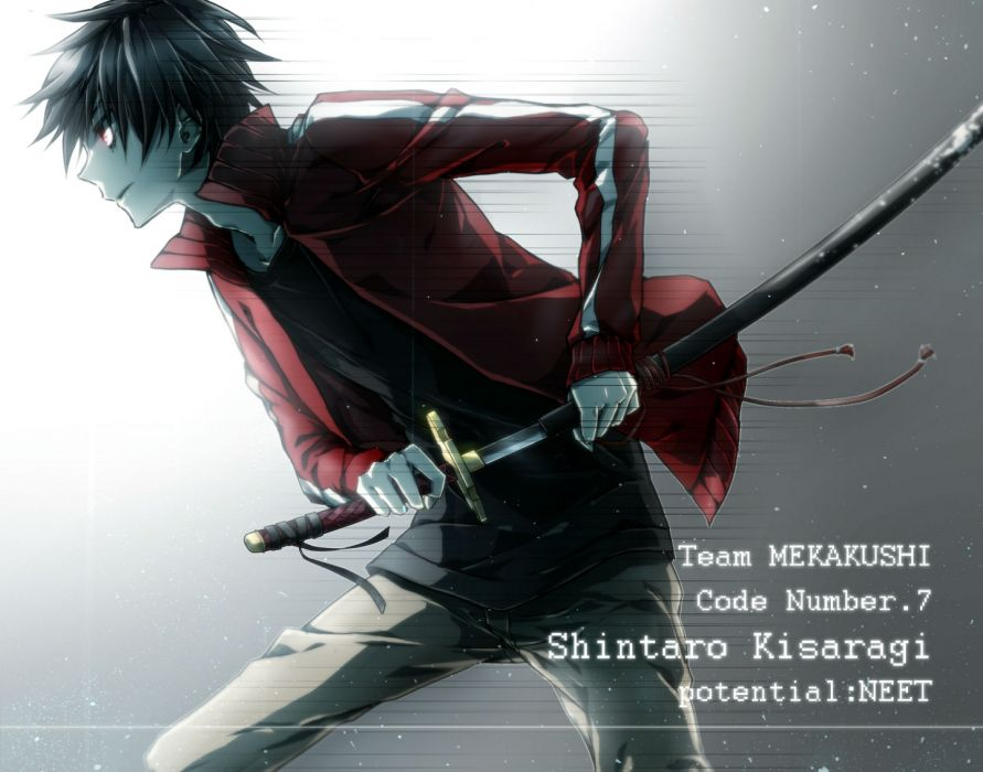 kagerou project black hair hukkyunzzz kagerou project katana kisaragi shintaro male red eyes sword weapon wallpaper