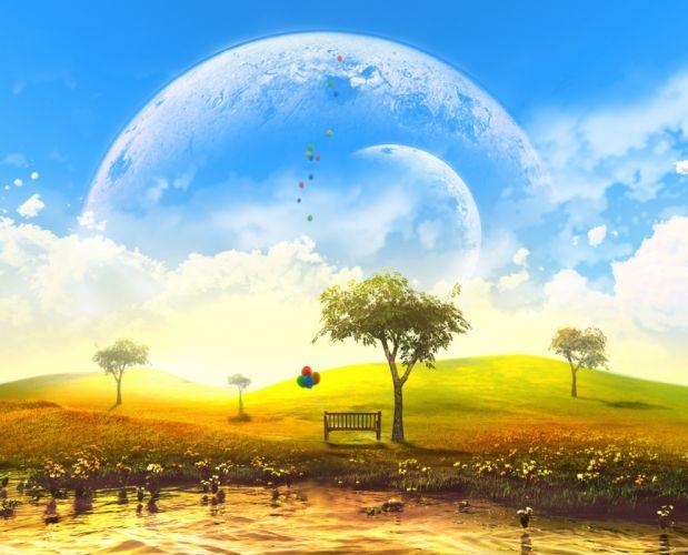 original 3d bench clouds grass landscape moon nobody original scenic sky tree water y-k wallpaper