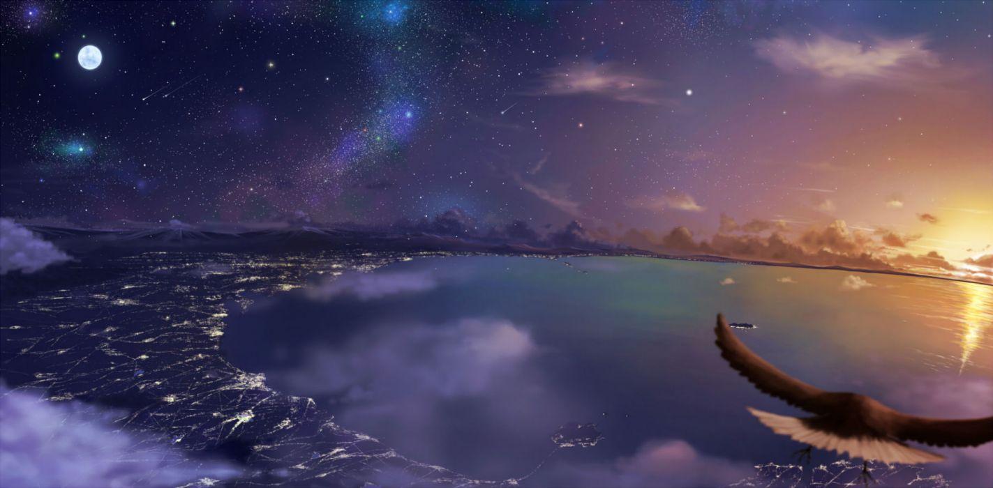original animal bird landscape moon night original pei (sumurai) scenic sky stars sunset water wallpaper