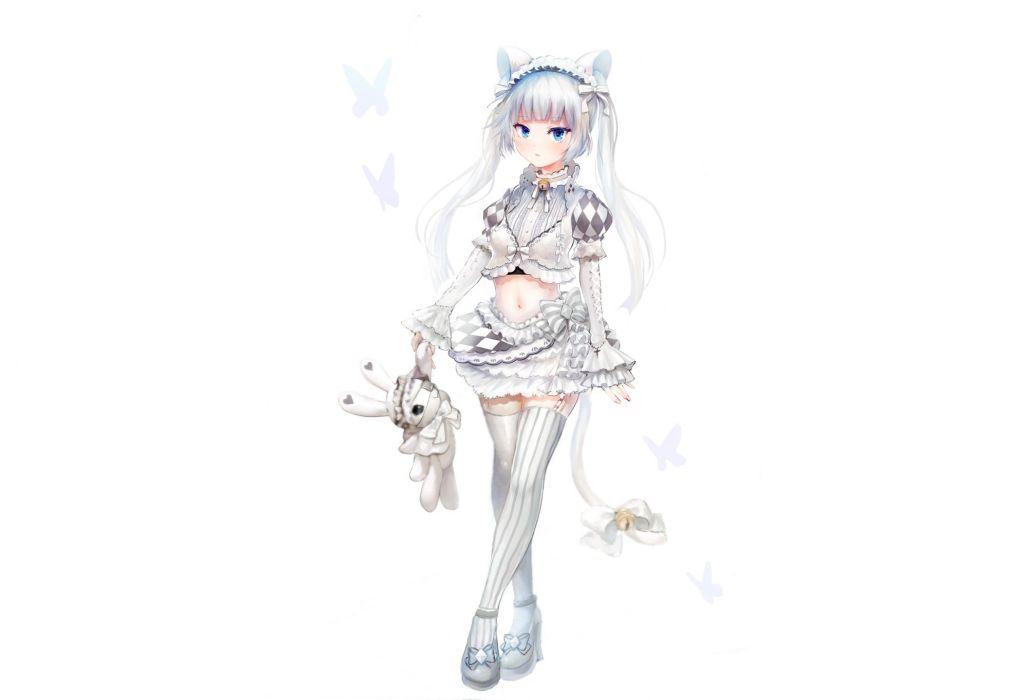original animal ears blue eyes headband miss monochrome skirt tail teddy bear thighhighs twintails white white hair wallpaper