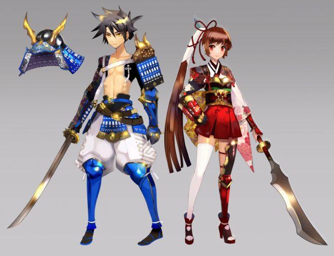original armor astarone japanese clothes original samurai spear sword weapon wallpaper