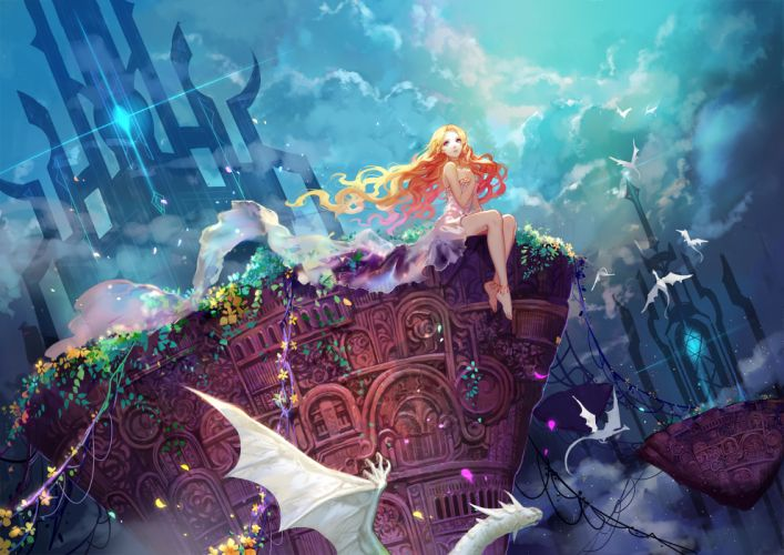original barefoot blonde hair blue eyes clouds dragon dress flowers long hair original petals sky wallpaper