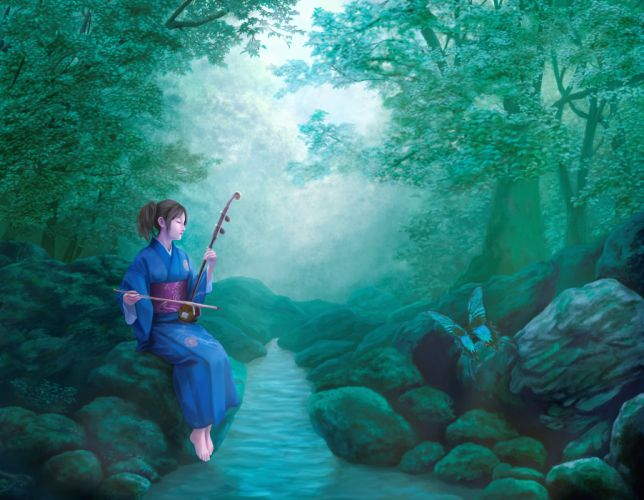 original black hair butterfly erhu forest instrument japanese clothes kimono scenic tree water wallpaper