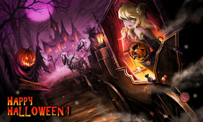original blonde hair blue eyes bones cape dress fang halloween hat horns moon original pumpkin tail tree ume (illegal bible) wallpaper