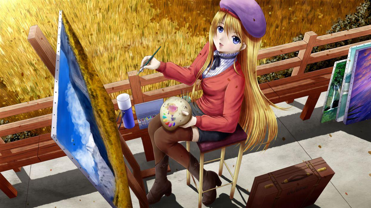 original blonde hair blue eyes hat ilolamai long hair original stockings thighhighs wallpaper