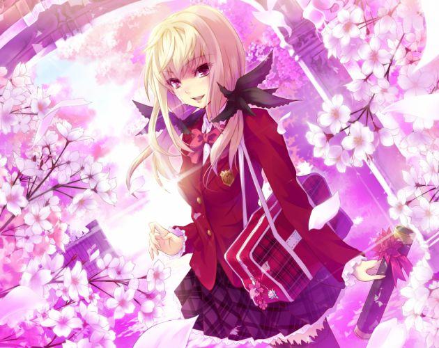 original blonde hair bow cherry blossoms flowers long hair original petals purple eyes seifuku skirt tears thighhighs urabi (tomatohouse) wallpaper