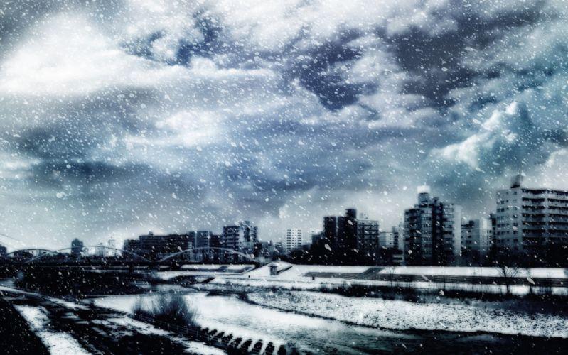 original city gray snow winter wallpaper