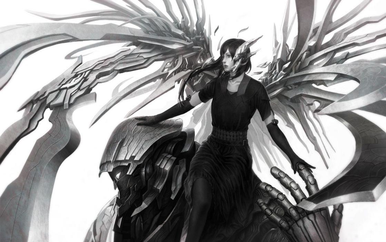 original mecha black eyes black hair elbow gloves kakotomirai (harvester) monochrome wings wallpaper