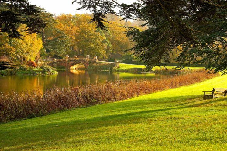 park lake bridge road shop trees landscape autumn wallpaper