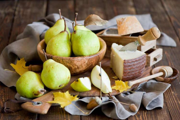pear cheese acorns still life wallpaper