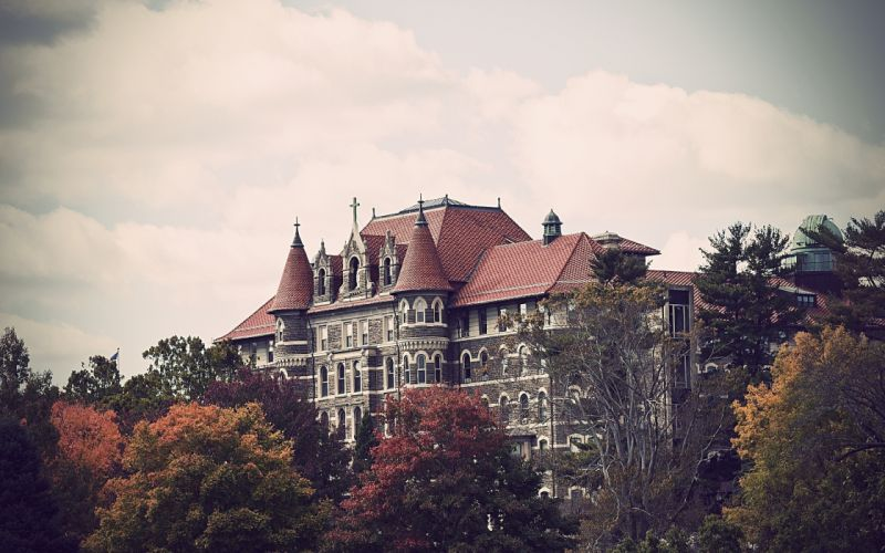 philadelphia trees chestnut hill college pennsylvania building autumn wallpaper