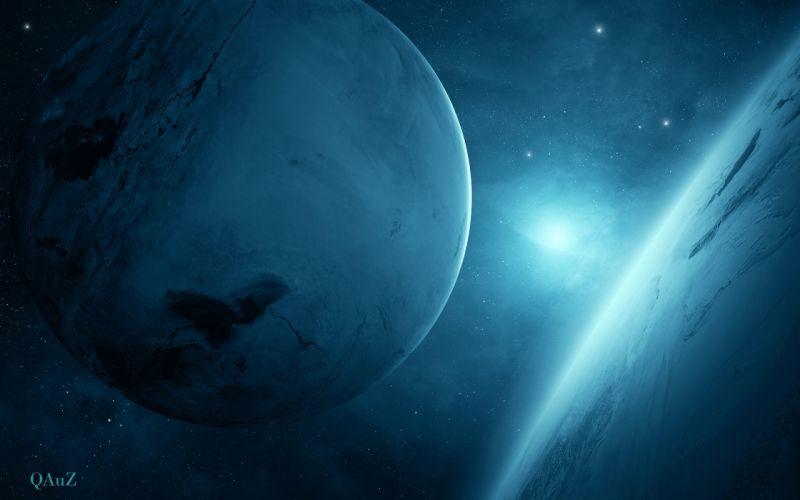 planet blue sci-fi wallpaper