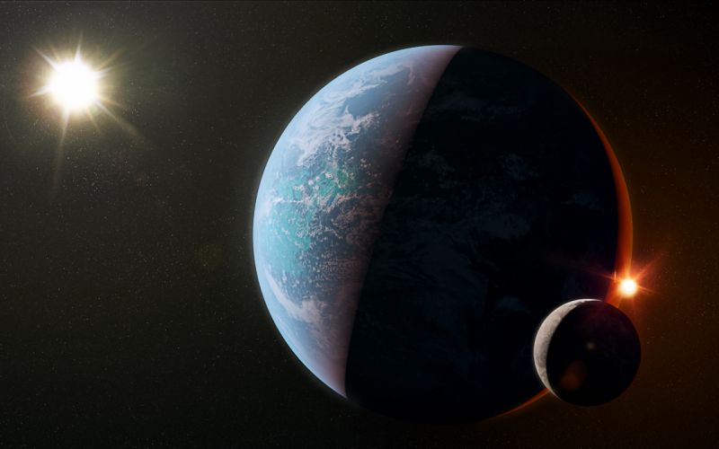 planet light sci-fi shadow wallpaper