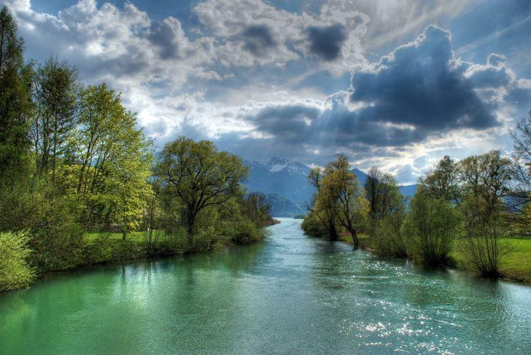 river mountains trees landscape g wallpaper