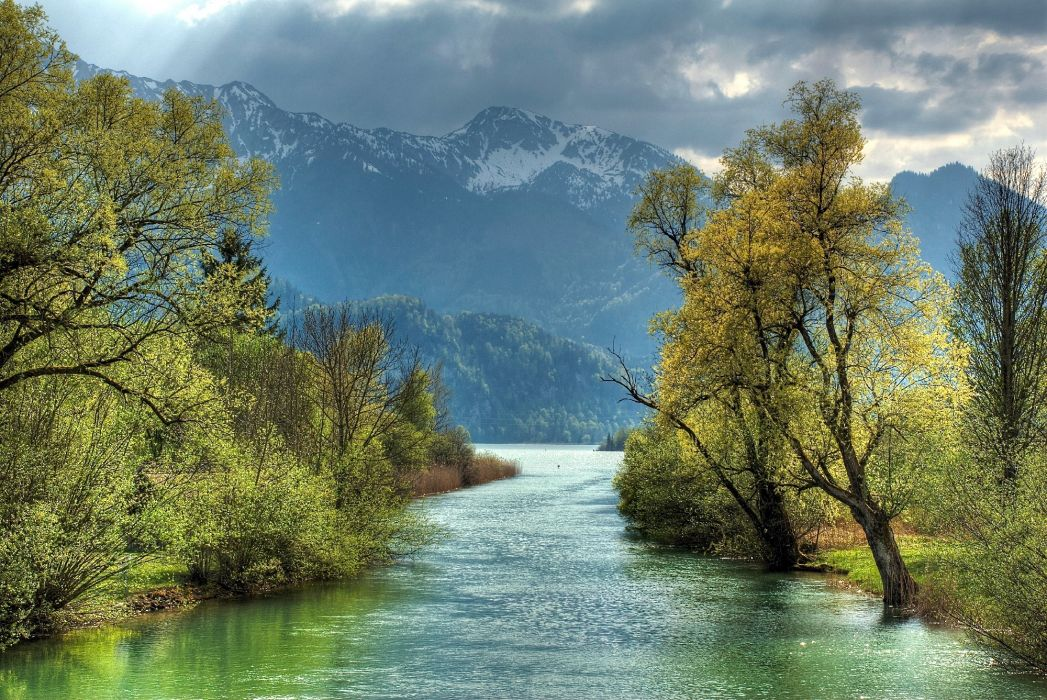 river mountains trees landscape autumn wallpaper