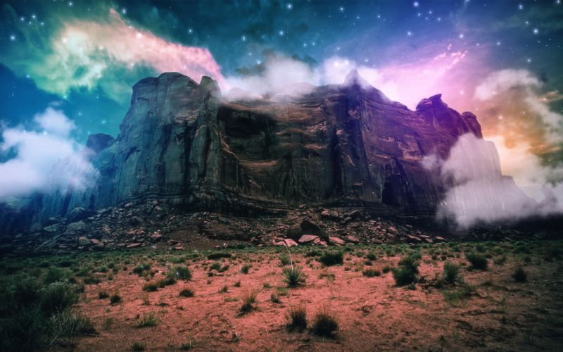 science fiction mountain cliff clouds space stones sand bushes wallpaper