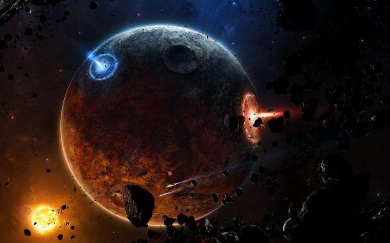 sci-fi spaceship planet fire wallpaper