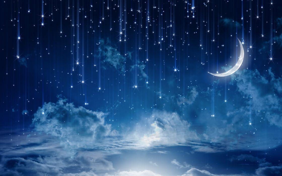 Sky Moonlight Nature Night Stars Clouds Rain Landscape Moon Wallpaper