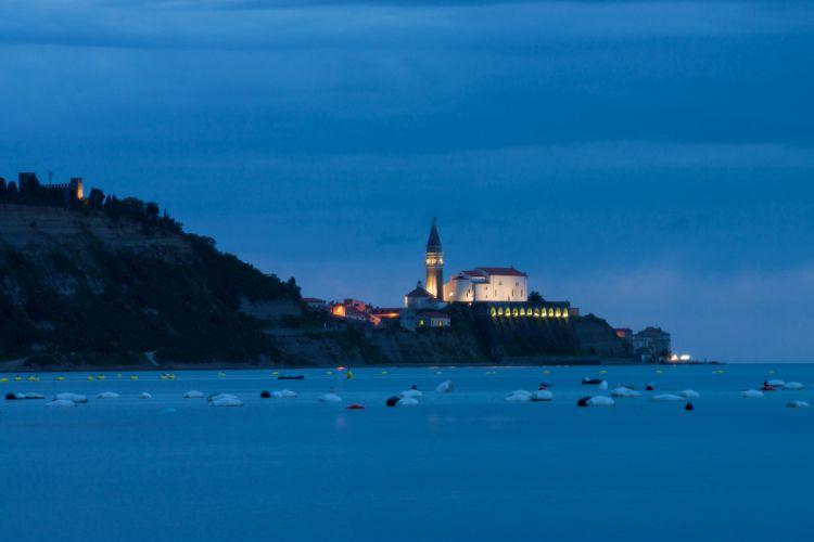 Slovenia the Adriatic sea evening church landscape wallpaper