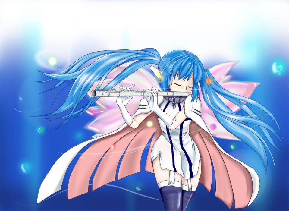 sora no otoshimono blue hair cape collar elbow gloves flute instrument long hair minachu t nymph sora no otoshimono thighhighs twintails wings wallpaper