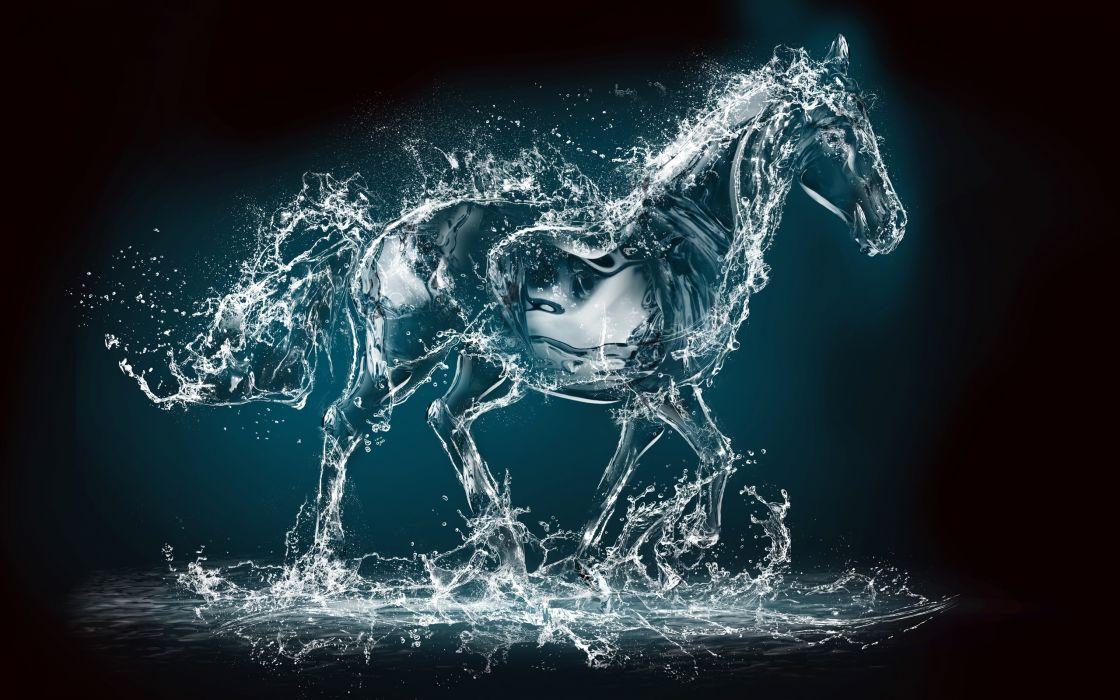 spray horse rendering animal wallpaper