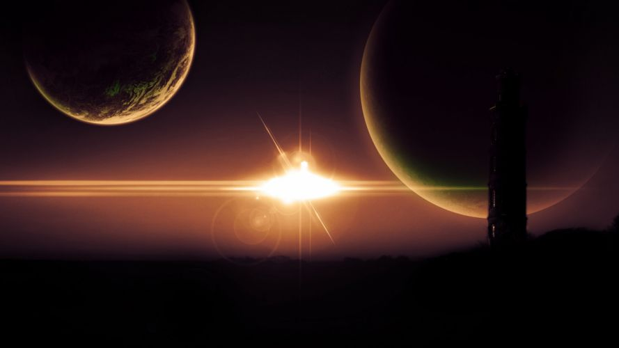 star tower silhouetted planet wallpaper